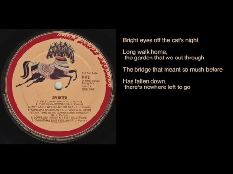 Splinter - This Is My Corner lyrics - Dark Horse Records promo LP