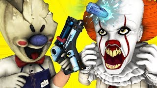 Ice Scream Man vs Pennywise (It Dancing Clown Scary Teacher Miss T Mobile Horror Game 3D Animation)