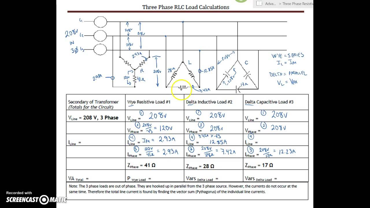 3 Phase Rlc Circuit Calculation Ex  5