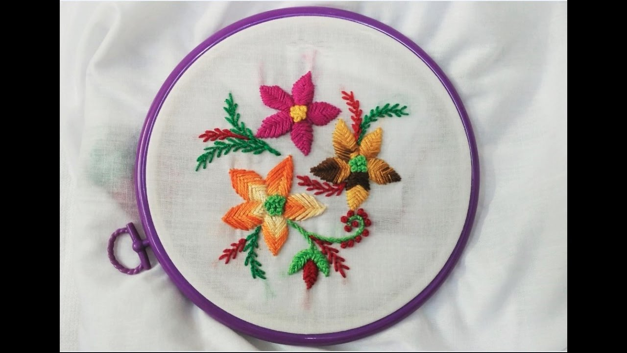 Hand Embroidery   Raised Fishbone and Feather Stitch   YouTube ...