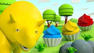 Learn Colors by making cupcakes ! - Learn with Dino the Dinosaur 👶  l Educational Cartoons for Kids