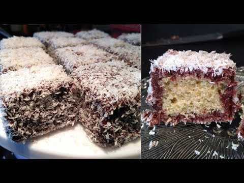 recette-de-gâteau-lamington,-traditionnel-australien-/gâteau-éponge-chocolat,-noix-de-coco