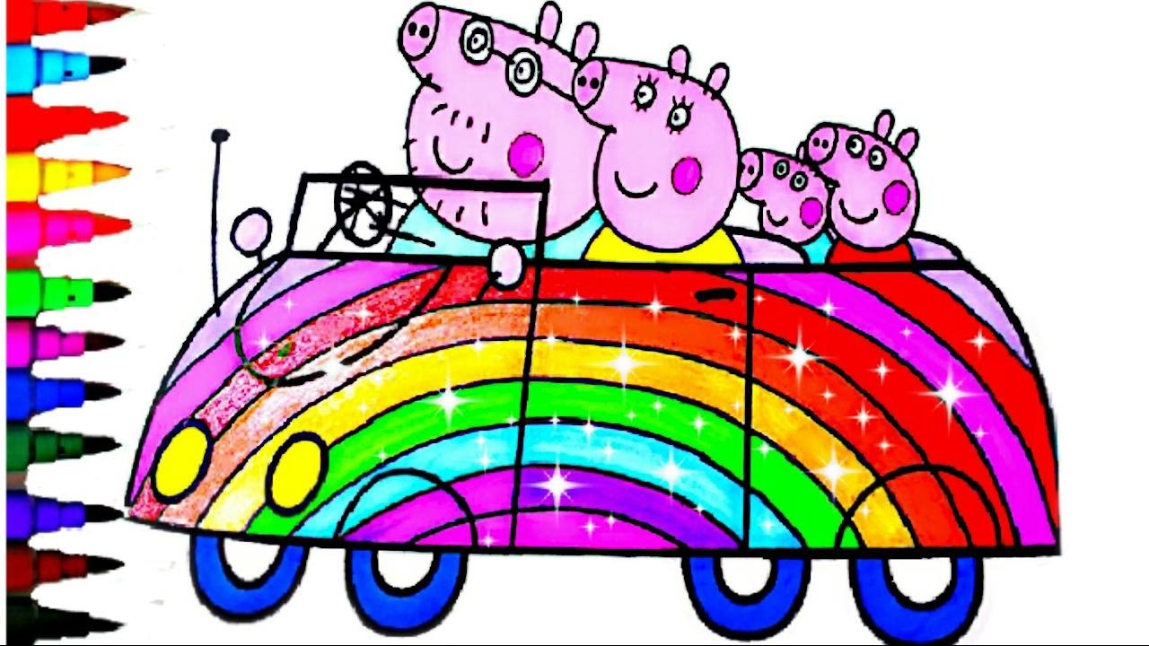 PEPPA PIG BEST LEARNING Coloring Book Pages SUPER SPARKLE Rainbow Car Kids Fun Art