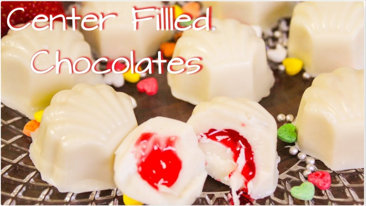 Center Fillled Strawberry Chocolates|How to make chocolates at home|filled  chocolate candy |Surprise