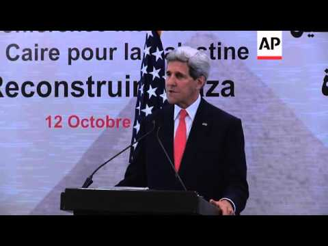 US Secretary of State John Kerry gives news briefing on the gaza donors' conference