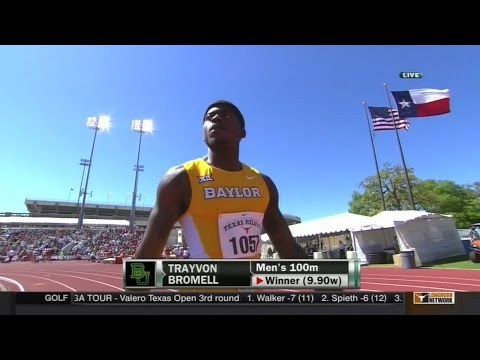 Baylor's Trayvon Bromell Wins 100m at Texas Relays