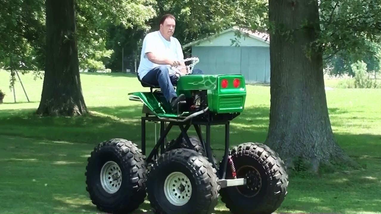 Monster Lawn Mower Driving Homemade Lifted V Twin