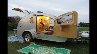 MONTAUK New York Hither Hills Teardrop Trailer camping in rain