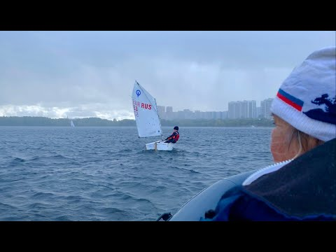 Яхтинг, класс Оптимист. Тренировка в сильный ветер.
