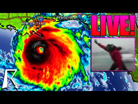 LIVE! Extreme Hurricane Ida Coverage, Storm Chaser INSIDE Eye, Real Time Radar, Live Weather Channel