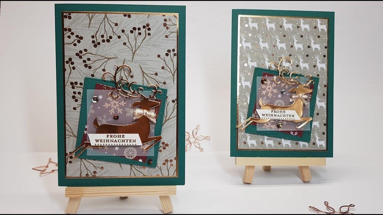 anleitung weihnachtskarte mit dem set weihnachtshirsch. Black Bedroom Furniture Sets. Home Design Ideas
