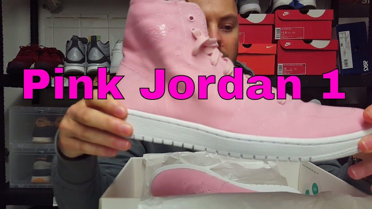77069a5a8279 Pink Nike Air Jordan 1 Retro High Decon Kicks Unboxing - YouTube