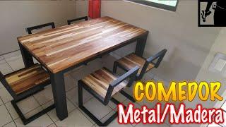 ✔️Mesa comedor de Metal y Madera de Huanacaxtle (Parota)