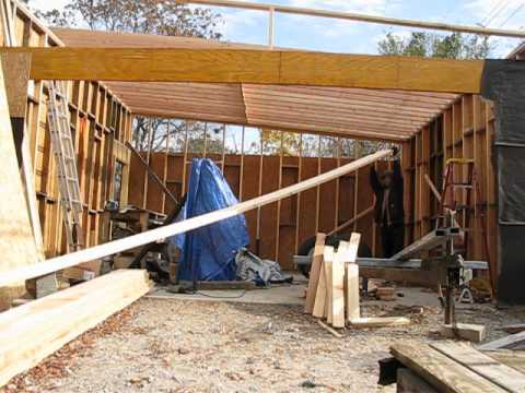 Garage Build Slant Roof Rafter Instalation Part 1 Youtube