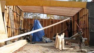 Garage Build Slant Roof Rafter Instalation Part 1