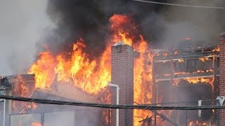 Massive apartment fire in Langley City, BC with collapse