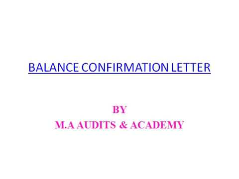 BALANCE CONFIRMATION LETTER - YouTube