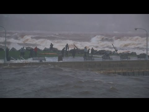 Waves Lash Duluth's Waterfront As Storm Howls Over Superior