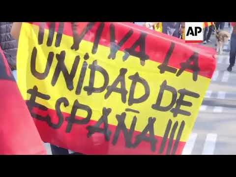 Extreme right activists march in Barcelona, burn Catalan flags
