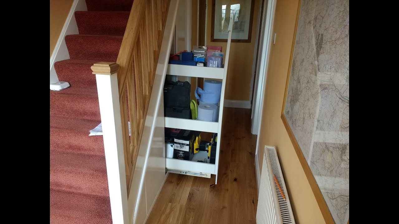 Under Stairs Pull Slide Out Cupboard Storage Diy Project