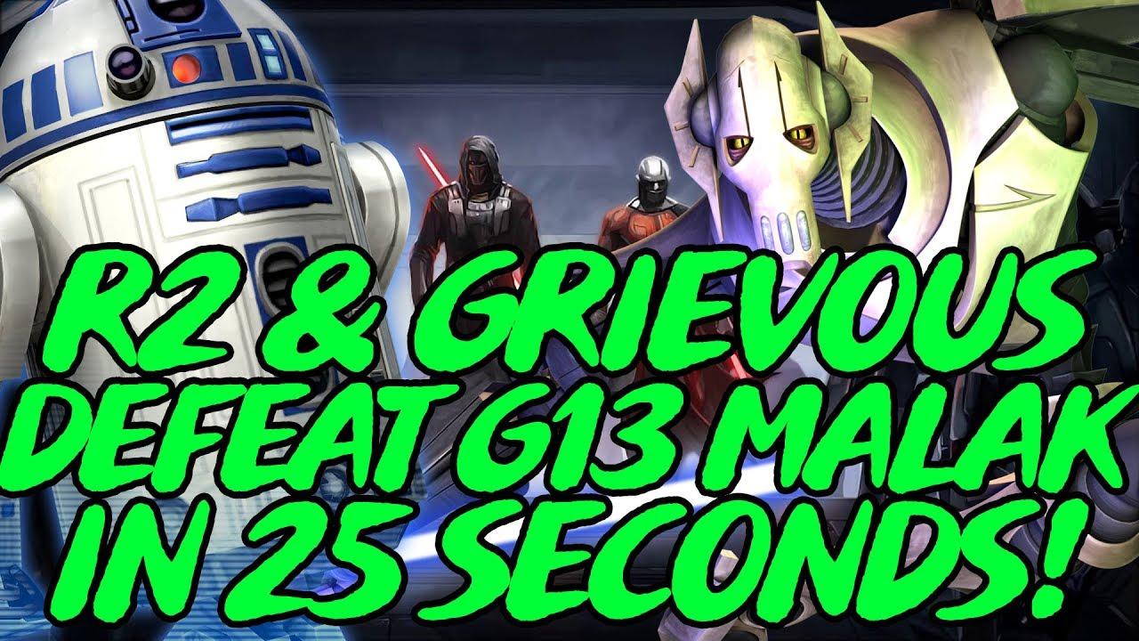 R2 & Grievous DESTROY G13 Malak In 25 Seconds! SWGOH