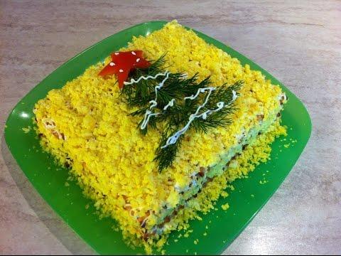 Рыбный ТОРТ-САЛАТ с крекерами. Мамулины рецепты.