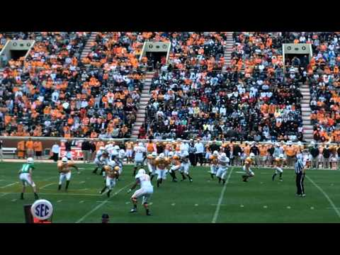 Unsuccessful block by Justin Worley in 2011 Orange & White game