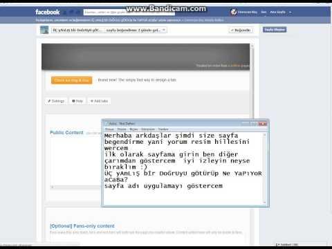 Facebook Sayfa Begedirme hillesi 2012