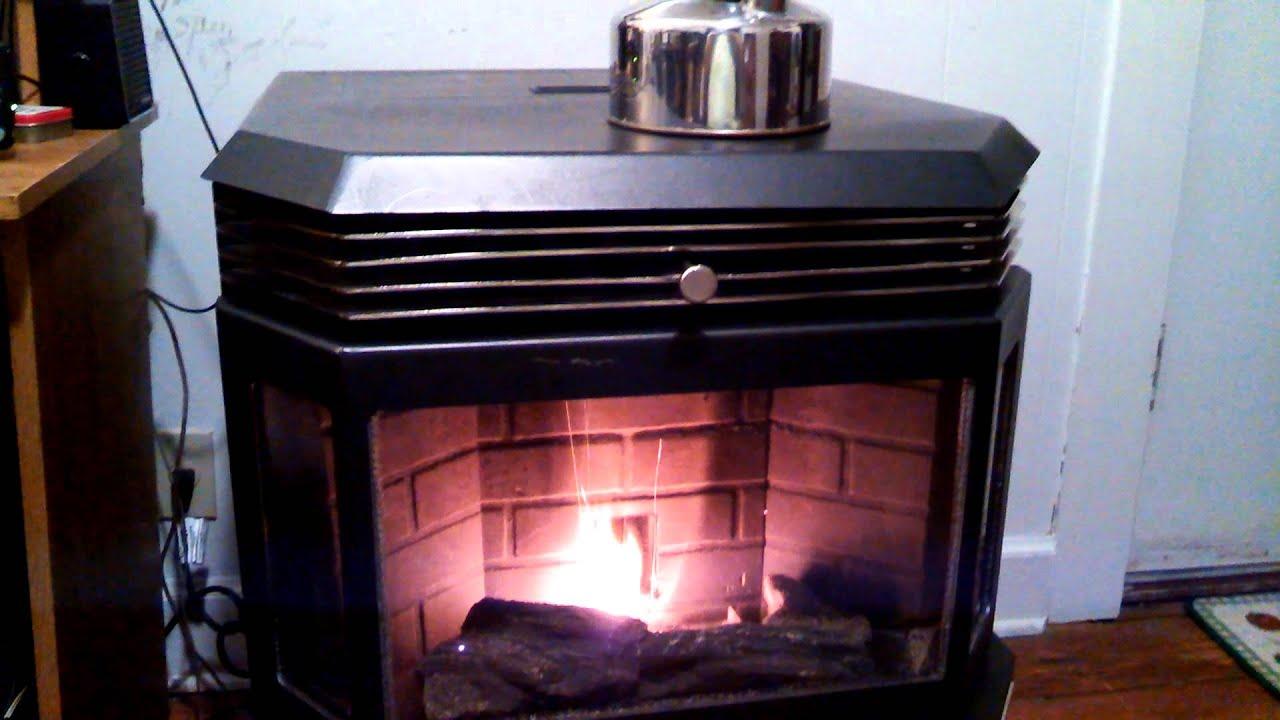 Wood pellet stove - YouTube