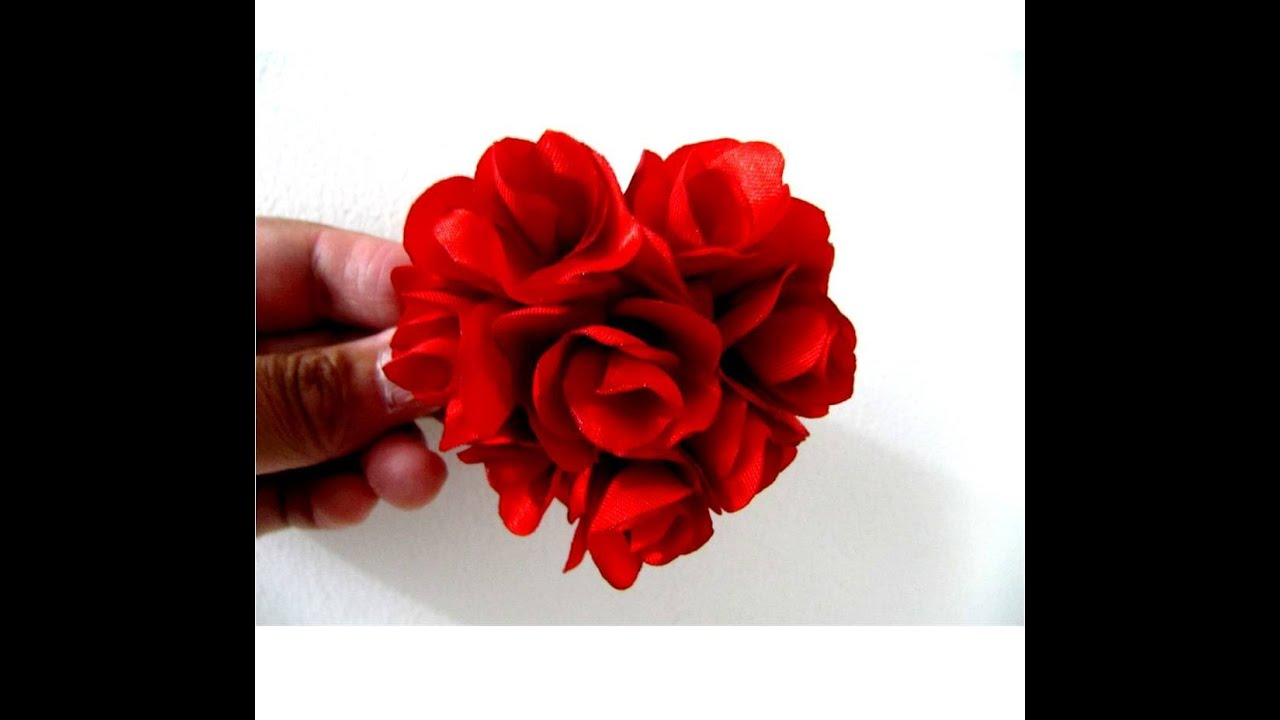 Mo os coraz n de rosas en telas para el cabello youtube - Flores de telas hechas a mano ...