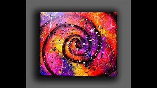 Colorful Spiral Abstract Painting / Fun With Acrylics / Creating Textured Surface With Random Tools