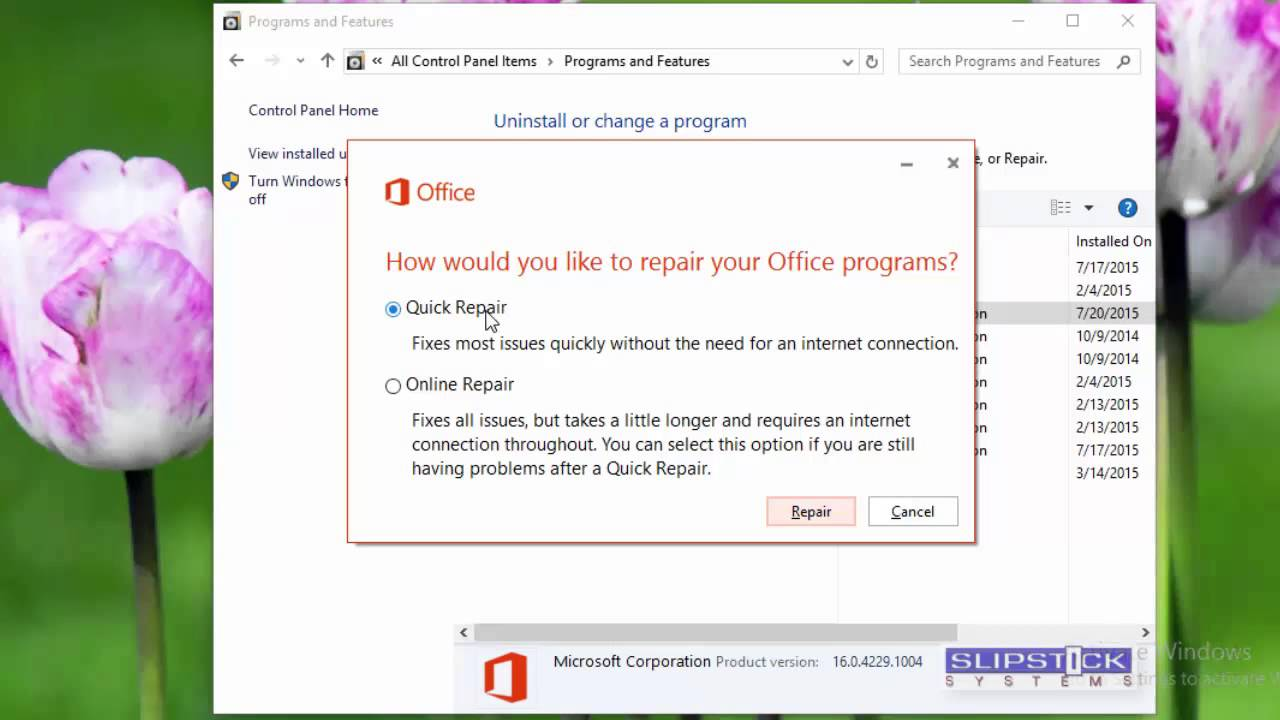 How to repair an Office 2013 or Office 2016 Installation
