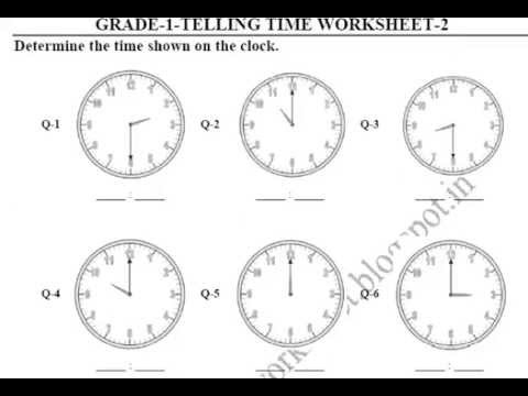 Grade 1 Telling Time printable worksheets - YouTube