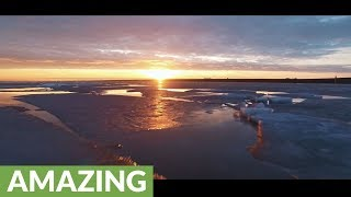 This spectacular drone footage captures an ice phenomenon in the Netherlands