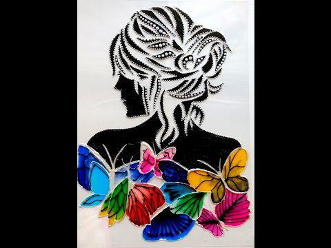 GLASS PAINTING LADY WITH BUTTERFLIES