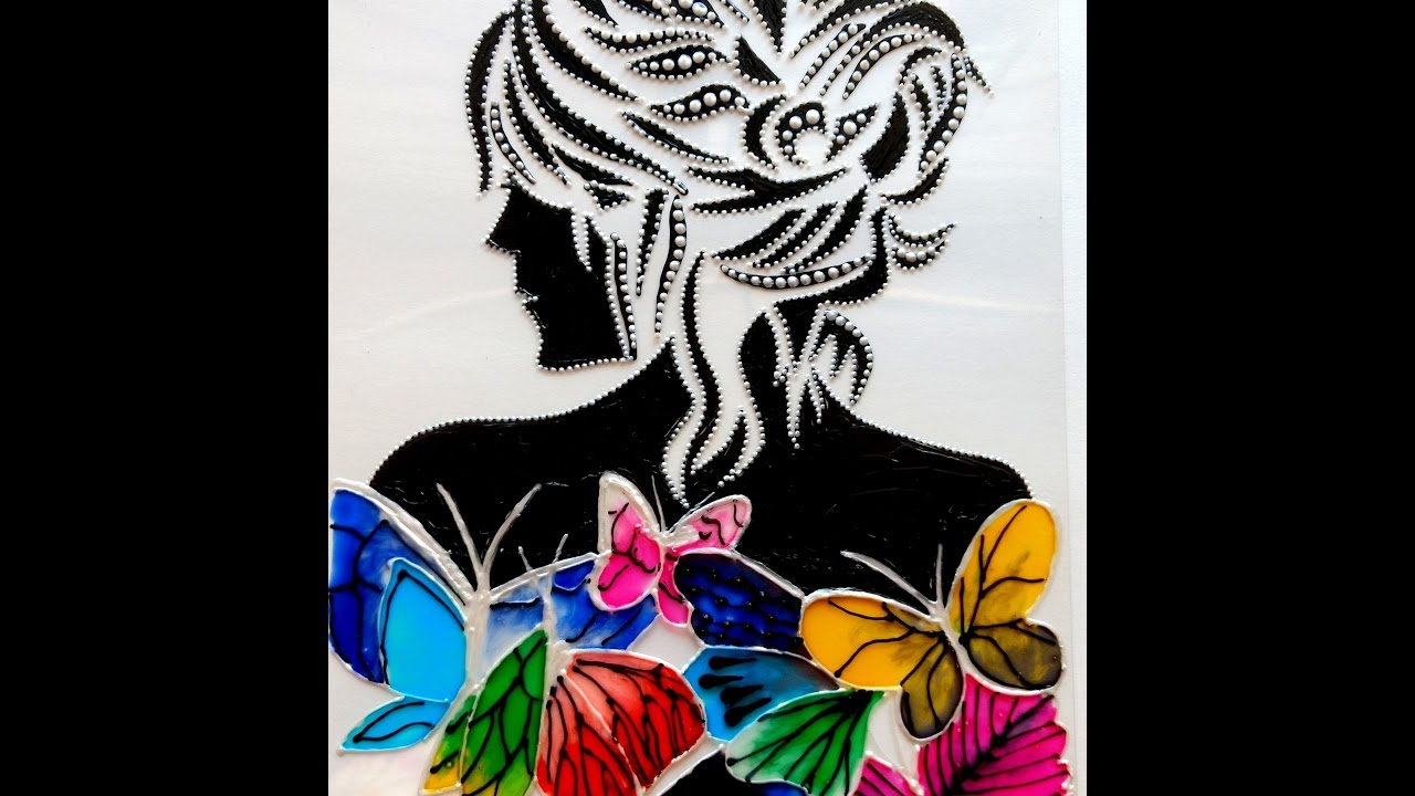 GLASS PAINTING LADY WITH BUTTERFLIES - YouTube for Butterfly Painting Designs  53kxo