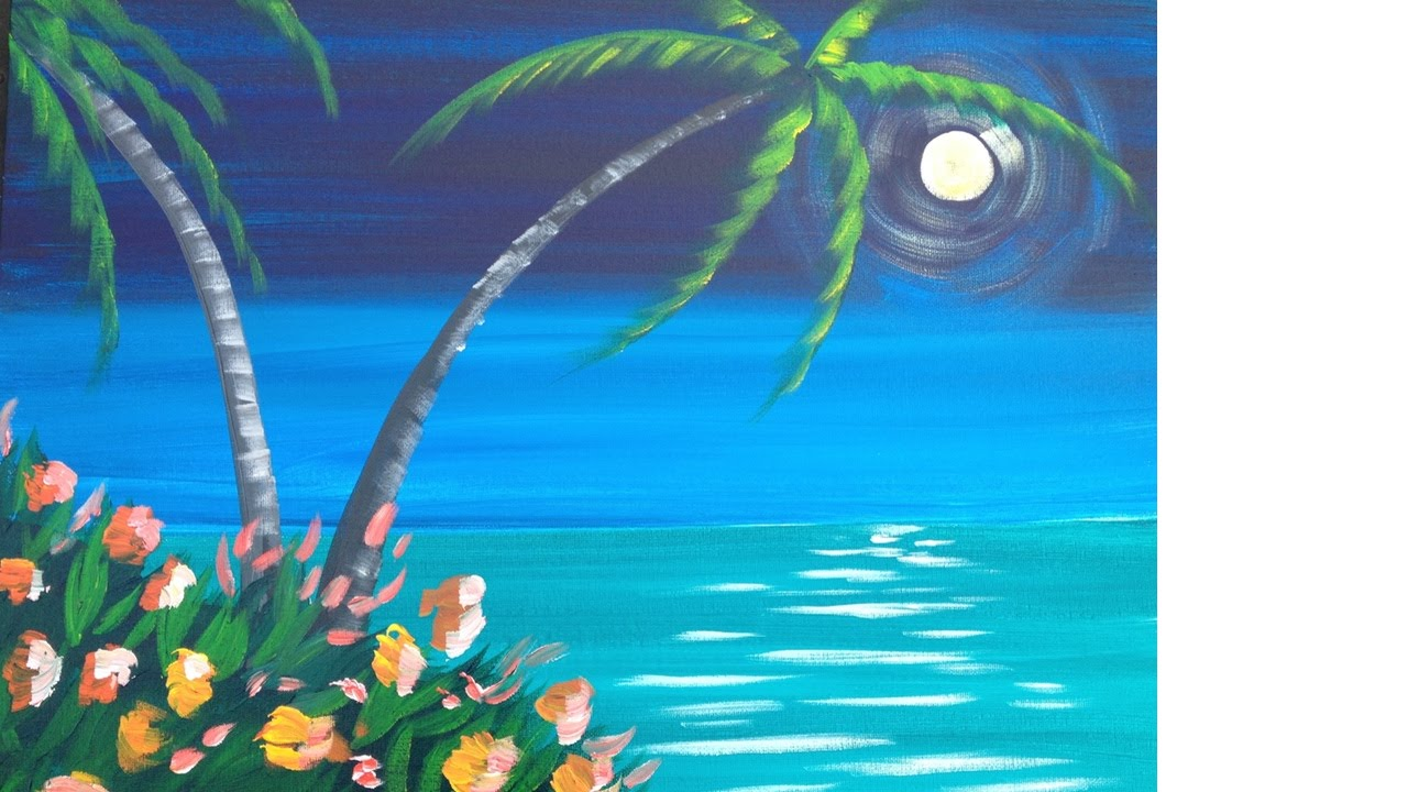 Easy Meditation Tropical Seascape Acrylic painting lesson ...