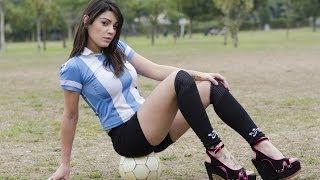 Model Plays Football In High Heels