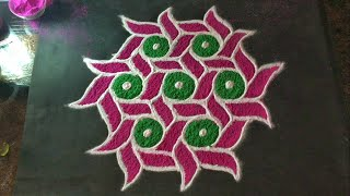 Easy Rangoli Design with colours for festival and Competition 11x6