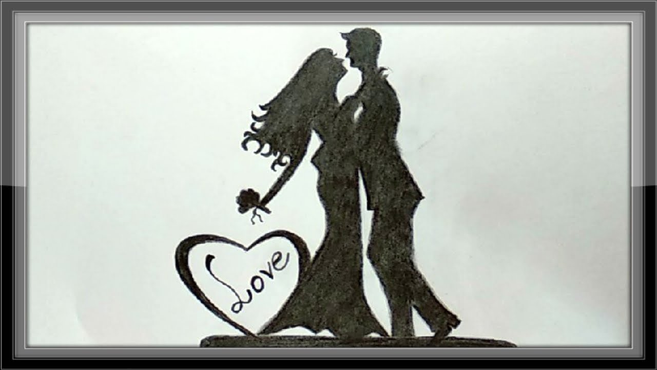 Pencil drawings love drawings a romantic couple for valentine