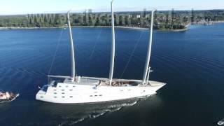 World largest sailing yacht. Sailing Yacht A. Auf Probe Fahrt in der Kieler Förde. September 2015.