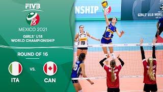 LIVE 🔴 ITA vs. CAN - Round of 16 | Girls U18 Volleyball World Champs 2021