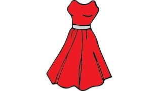 How to Draw a Dress Easy step by step / Как нарисовать платье