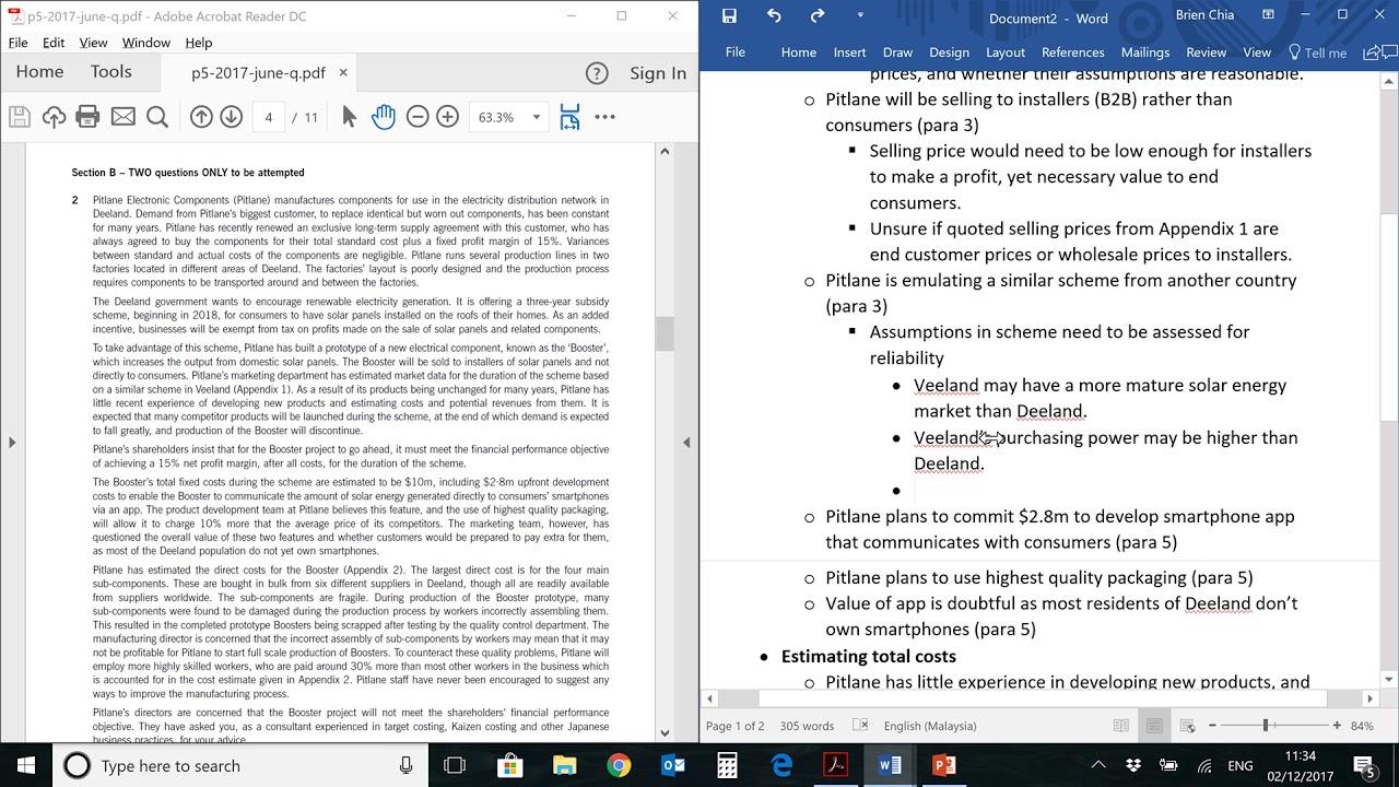 ACCA P5 Mar/Jun 2017 Q2(b) Part 3 Lecture (Target Costing)