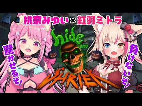 【Hide and Shriek】ももにゃちゃんと仲良くガチバトル!!【紅羽ミトラ/桃奈みゆい/新人Vtuber】