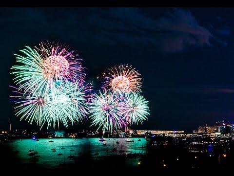 2017-08 Dueling Fireworks on Boston Harbor