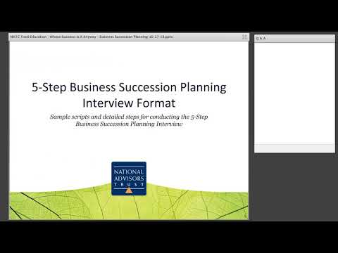 Trust Education: Business Succession Planning by National Advisors Trust Company