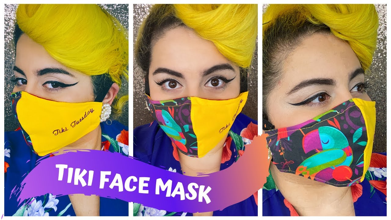 Face Mask with Filter Pocket - FREE Pattern - TIKI EDITION