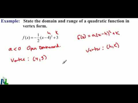 Domain And Range For Quadratic Functions In Vertex Form With A