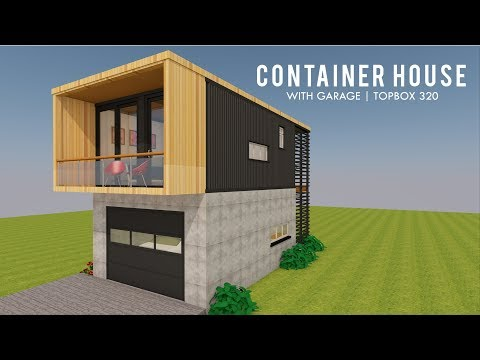 Modular Shipping Container Tiny House Design with Garage + Floor Plans | TOPBOX 320